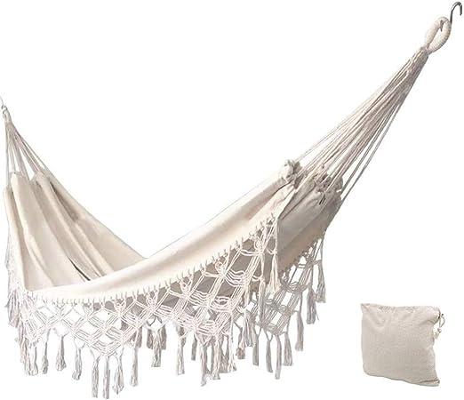 KEREITH Al Aire Libre jardín Hamaca algodón Suave Camping Hamaca con Mochila, Mejor para Patio (Crudo, MAX Load 450lbs): Amazon.es: Jardín