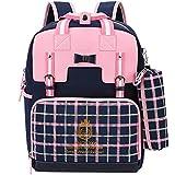 Uniuooi Primary School Students Ergonomic Backpack Book Bag - Waterproof Nylon Schoolbag for Boys Girls Gift 6-12 Years Old (Pink + Navy)