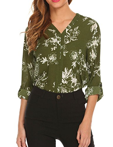 Miageek Women Print Chiffon Cuffed Sleeve Blouse Shirt Loose Fit Open Back (Floral Keyhole Back Top)
