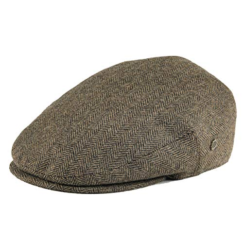 VOBOOM Men's Herringbone Flat Ivy Newsboy Hat Wool Blend Gatsby Cabbie Cap (Khaki, S) -