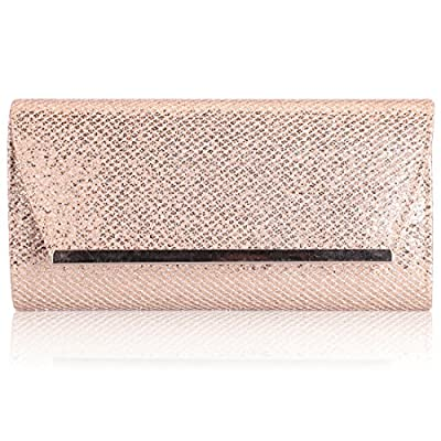 HMaking Womens Beads Evening Bag Champagne PU Leather Bag Handbags
