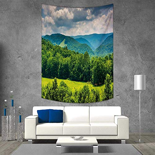 smallbeefly Landscape Vertical Version Tapestry View Mountains in Potomac Highlands West Virginia Rural Scenery Picture Throw, Bed, Tapestry Yoga Blanket 54W x 84L INCH Forest Green