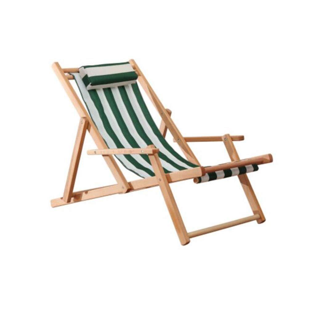 YCSD 折りたたみ椅子アウトドアレジャーチェアリクライニングチェア怠惰なソファー ブナの木  ビーチチェア、3ファイル調整 (Color : Green) B07SX54F5R Green