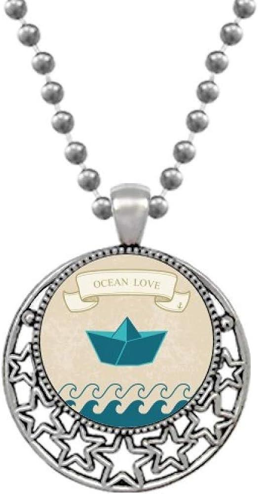 Paper Folding Ocean Love Sea Sailing Boat Necklaces Pendant Retro Moon Stars Jewelry