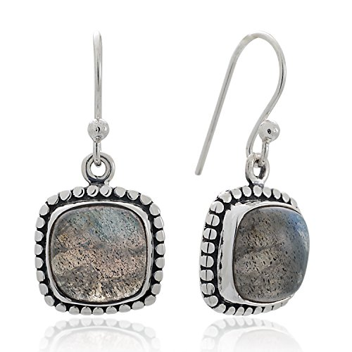 925 Sterling Silver Labradorite Gemstone Dotted Edge Vintage Square Dangle Hook Earrings 1.2