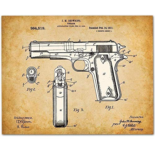 1911 Colt 45 Gun - 11x14 Unframed Pistol Patent Print - Makes a Great Gift Under $15 for Gun Owners (Great Pistol)