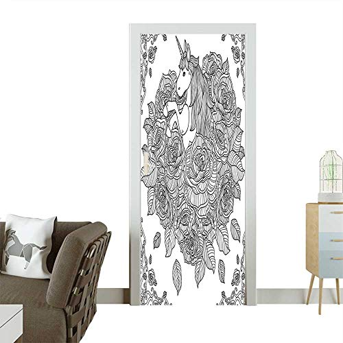 Door Sticker Wall Decals and Kids Unicorn in Sketchy Overlap Line and Chamomile Flower Pattern Black Easy to Peel and StickW35.4 x H78.7 INCH ()