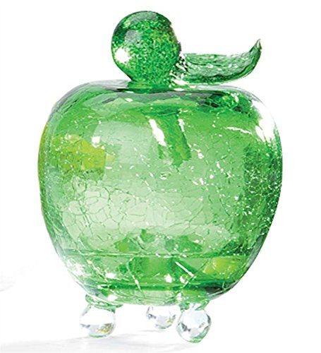 Handmade Crackle Glass Apple Fruit Fly Trap, In Green