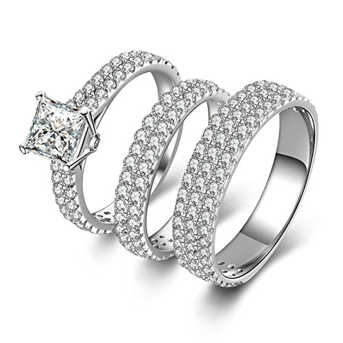 AMDXD Jewelry Womens Anniversary Rings Square White CZ Ring Set Bridal Wedding Rings Size 5.5 (Sterling Silver Skull Coin Set)