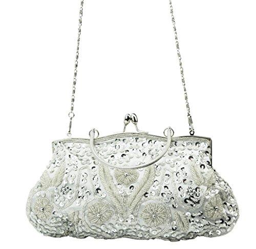 Silver Evening Bag - Women's Evening Clutch SNUG STAR Two-sided Lily Beaded Sequin Designer Clutch Handbag(Silvery)
