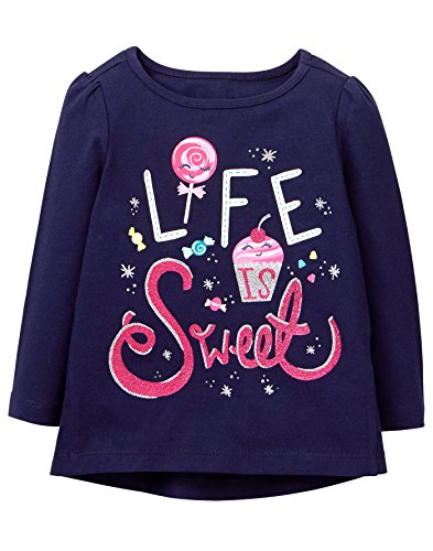Gymboree Baby Girls Long Sleeve Winter Graphic Tee, Ocean Trench, 6-12 mo