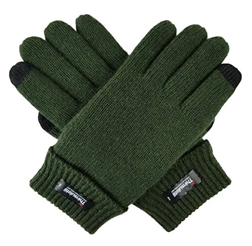 Bruceriver Men's Pure Wool Knitted Gloves with Thinsulate Lining Size S/M (Green Touchscreen)
