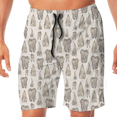 Men Drawstring Casual Canine Teeth Sport Beach Plate Shorts Swimming Summer Short Pants Beach Trunks with Two Side Pockets and One Back Pocket