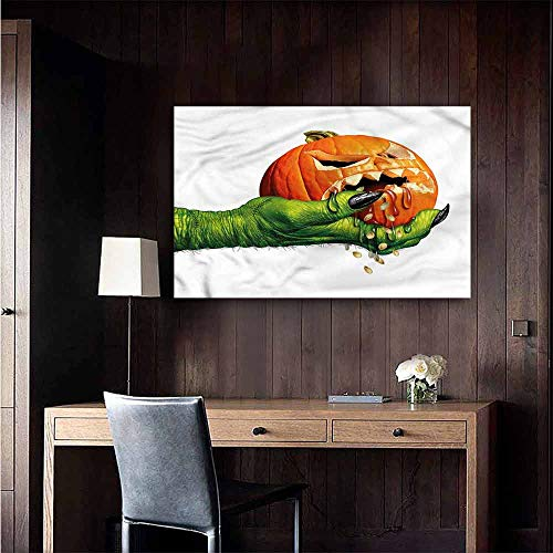 Gabriesl Waterproof Art Wall Paper Poster Pumpkin Scary Halloween Monster Bedroom Bedside Wall Size : W28 x H20]()
