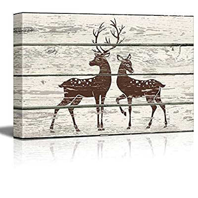Rustic Buck And Doe - Canvas Art