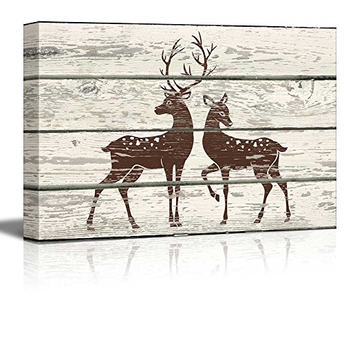 Stag and Doe in Block Print Artwork Rustic