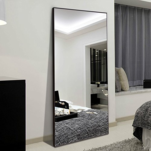 H&A Rectangle Full Length Bedroom Floor Leaner Mirror, PS Finished Frame Dressing Mirror, 65''x21''. (Black(Medium Size)) by H&A