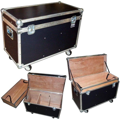 Trunk Case - 31 Inch Bully Supply ATA Trunk W/wheels - Top Tray - 2 Dividers - Light Duty 1/4 Ply - Color Black by Roadie Products, Inc.