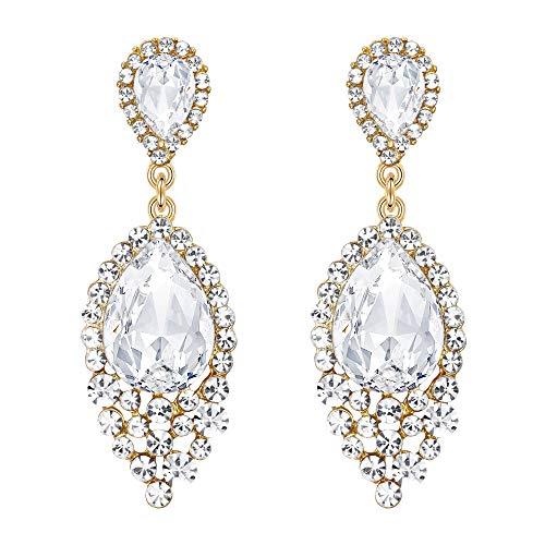 - BriLove Wedding Bridal Dangle Earrings for Women Crystal Teardrop Cluster Beads Chandelier Earrings Gold-Toned Clear