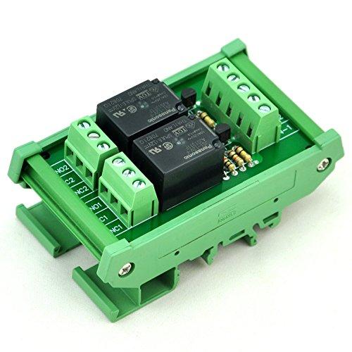 ELECTRONICS-SALON DIN Rail Mount 2 SPDT Power Relay Interface Module, 10A Relay, 12V Coil.
