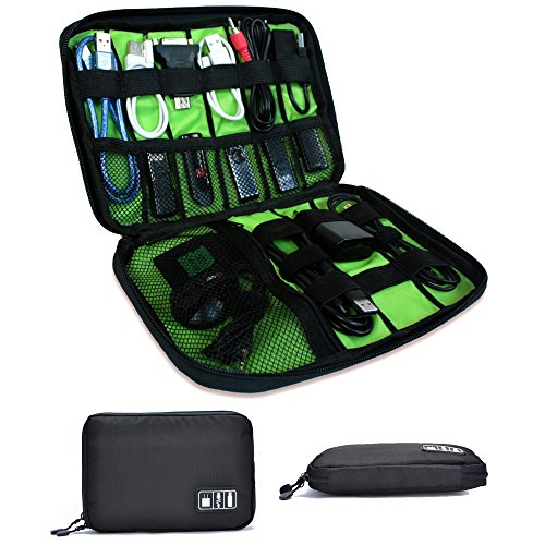 Universal Travel Cable Organizer Electronics Accessories Bag – Best for USB, Chargers, Flash Drive, Memory Cards, Cords – Portable Nylon Case Black