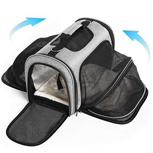 Cat Carrier Portable Pet Travel Carrier, Soft-Sided Expandable, Two Side Expansion, Airline Approved Carrier for Easy Carry On Luggage Outdoor, for Small Dogs, Puppies, Cats, Kittens (Pet Carrier)