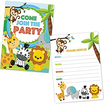 Safari Jungle Zoo Animals Party Invitations For Kids Birthday Or Baby Shower 20 Count With Envelopes