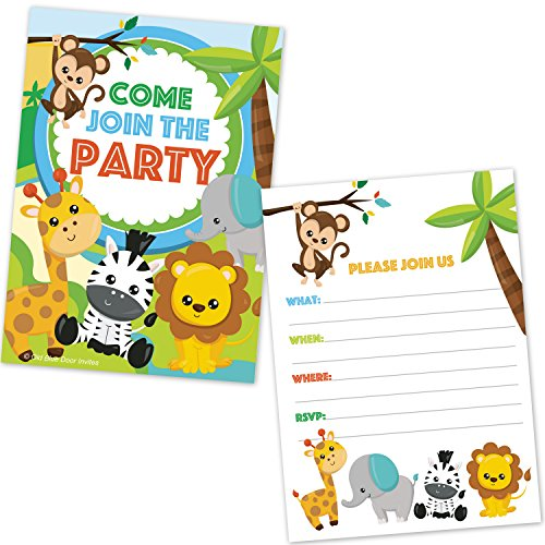Safari Jungle Zoo Animals Party Invitations for Kids Birthday or Baby Shower - (20 Count with Envelopes) Baby Birthday Party Invitations
