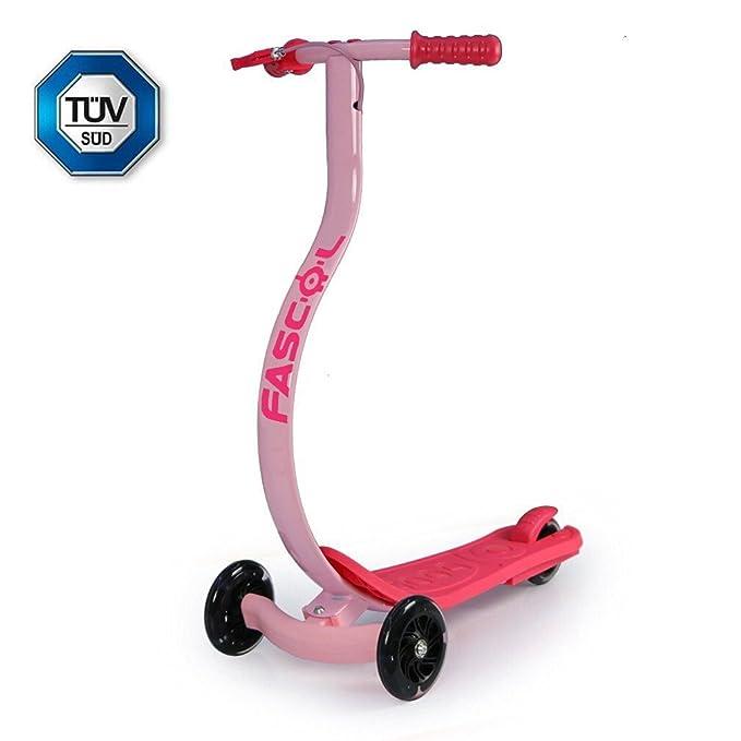 FASCOL Patinete / Scooter para Niños de 6-15 Años. Carga Máxima de 60kg. 2 Años de Garantía. Rosa / Azul / Negro