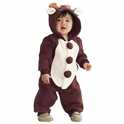 MIKIKIDS Pijama gruesa disfraz de animal pelele mono para bebé niño niña infantil- franela ciervo