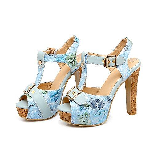 PU 46 Sandalias Mujer Viajes Código con Primavera para Verano Mujer Alto Artificial Impermeable de 36 tacón de Plataforma Azul Color Zapatos 34 Sandalias tamaño qZ4H6t5n