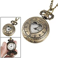 Gleader Cut Out Heart Hunter Case Necklace Pocket Watch Bronze Tone For Ladies