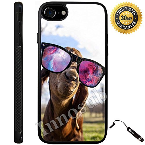 Custom iPhone 8 Plus Case (Hipster Goat With Sunglasses Nebula) Edge-to-Edge Rubber Black Cover with Shock and Scratch Protection | Lightweight, Ultra-Slim | Includes Stylus Pen by - Sunglasses Ebay Case