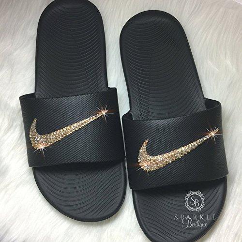 Gold NIKE Bling, Nike Slides, Custom Nike Kicks, Bling Nike Sandals, All
