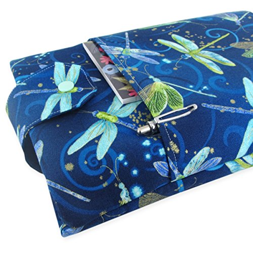 Handmade Dragonfly Fabric Book Sleeve - Padded - Perfect For Hardbacks Or Large Paperbacks by Five Sprouts Stitching