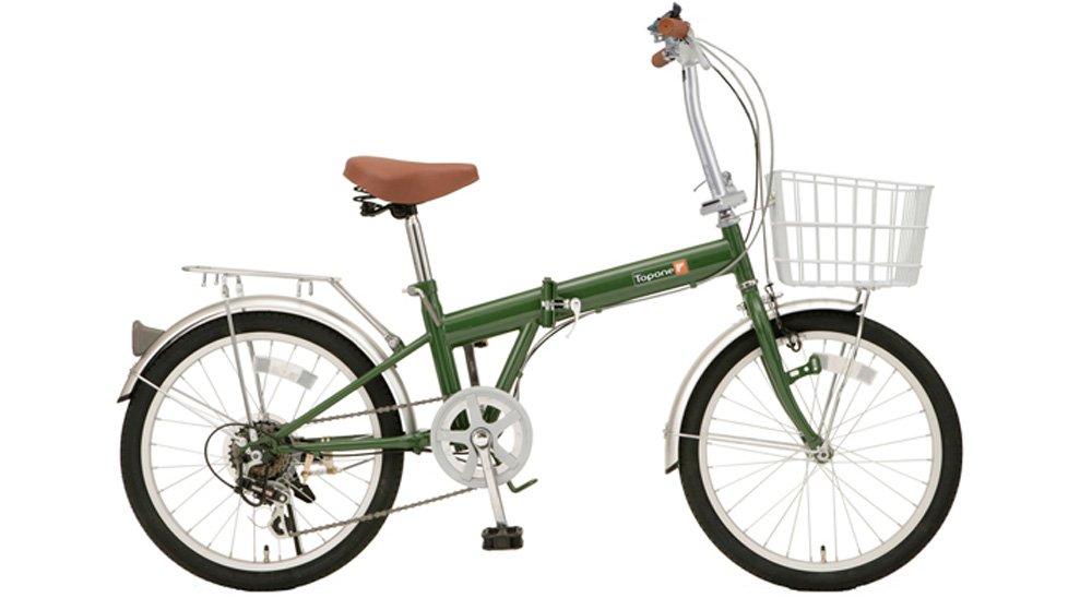 TOP ONE シマノ6段ギア搭載 折畳自転車 カゴ付 20インチ モスグリーン B00171KRGI