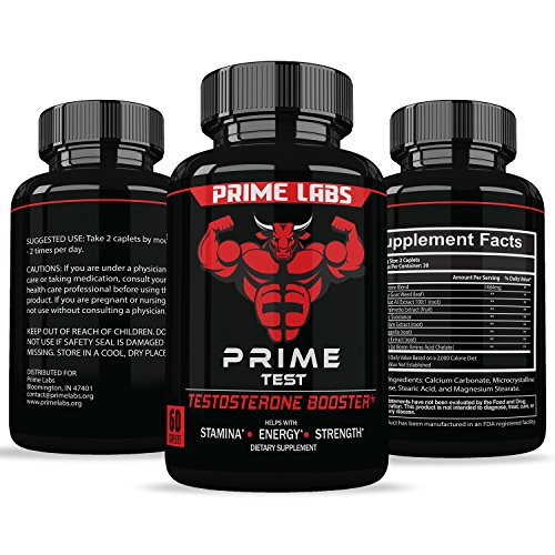 Prime Labs Mens Testosterone Booster  60 Caplets    Natural Stamina  Endurance And Strength Booster   Fortifies Metabolism   Promotes Healthy Weight Loss And Fat Burning