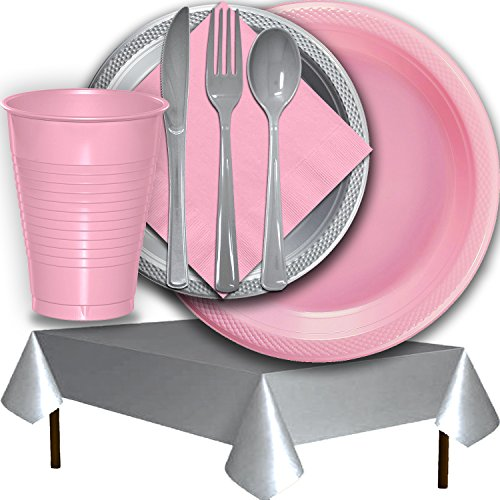 Plastic Party Supplies for 50 Guests - Pink and Silver - Dinner Plates, Dessert Plates, Cups, Lunch Napkins, Cutlery, and Tablecloths - Premium Quality Tableware - 50 Tableware