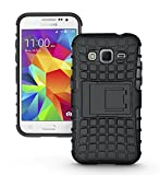 Wellmart Hybrid Defender Military Grade Armor Kick Stand Back Case Cover for Samsung Galaxy Core Prime G360 (Black)