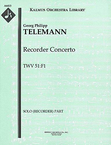 Recorder Concerto, TWV 51:F1: Solo (recorder) part (Qty 4) [A6413]