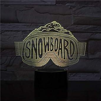 Control remoto LED 3D táctil Usb luz nocturna snowboard snowboard decoración de esquí luz niño niño niño bebé esquí espejo lámpara de mesa cama neón festival y regalo de Navidad