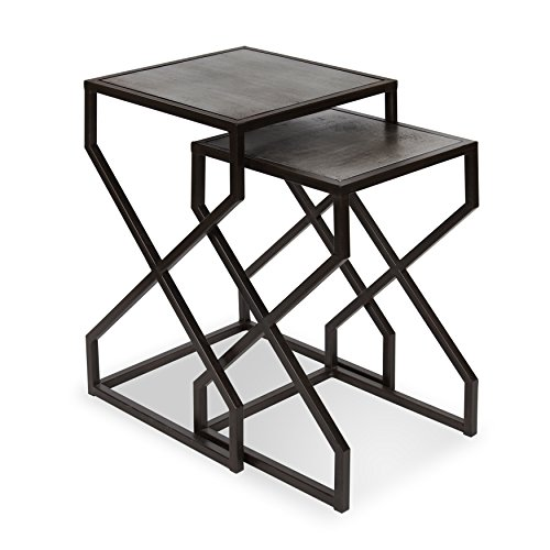 - Kate and Laurel - Amyx 2-Piece Modern Nesting Side Accent Tables Geometric Black Metal Base with Distressed Pewter Finish Wooden Top
