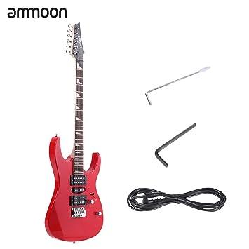ammoon 38 Guitarra Eléctrica 6 cuerdas Cuerpo de Tilo maciza mango de arce diapasón de