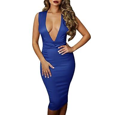 HHyyq - Vestido Sexy para Mujer, Cuello en V, Falda Media Larga ...