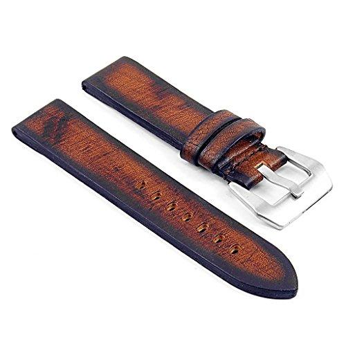 DASSARI Riviera Thick Vintage Italian Leather Watch Strap for Panerai in Rust 22mm
