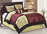7-Pc Satin Embroidery Snowflake Deer Holiday Patchwork Comforter Set Gold Queen