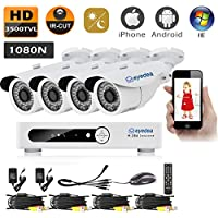 Eyedea Brand New 1080N 3500TVL Remote Phone View DVR Dome Megapixel 960P Video Surveillance Waterproof Outdoor Indoor IR LED Night Vision CCTV Security 4 Camera System