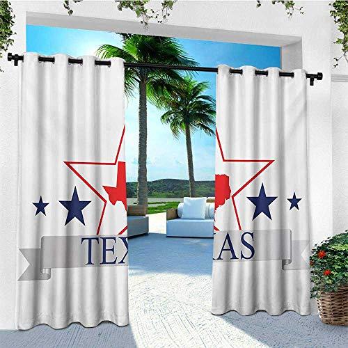 (leinuoyi Texas Star, Outdoor Curtain Extra Long, San Antonio Dallas Houston Austin Map with Stars Pattern USA, Fashions Drape W120 x L108 Inch Navy Blue Vermilion Pale Grey)