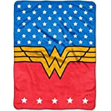 """Super Plush, Warm, and Colorful Warner Bros.' Wonder Woman, """"Princess of Justice"""" 46""""x60"""" Micro Raschel Throw, Blue with Stars on Top, Red on Bottom and a Gold Belt in the Middle"""