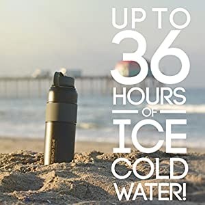 Thermo Tank Insulated Stainless Steel Water Bottle - Ice Cold 36 Hours! Vacuum + Copper Technology - SS Inner Lid, Silicone Grip - 40 Ounce (Black + Grey, 40oz)